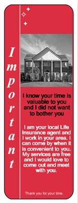 Rosenthal Life Insurance Door Hanger Red